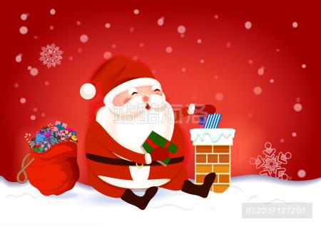 圣诞老人坐在屋顶上把礼物送进烟囱 圣诞节背景矢量插画