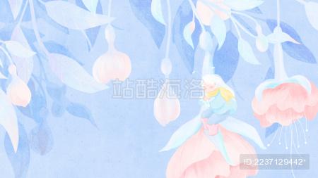 冬季在花朵上安眠的花精灵手绘插画横板