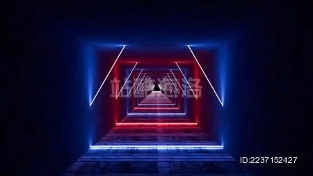 3d激光夜总会舞台 抽象荧光霓虹背景未来走廊概念背景