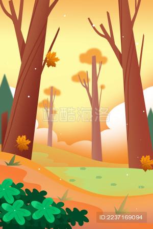 卡通手绘秋季秋天秋游旅行插画背景
