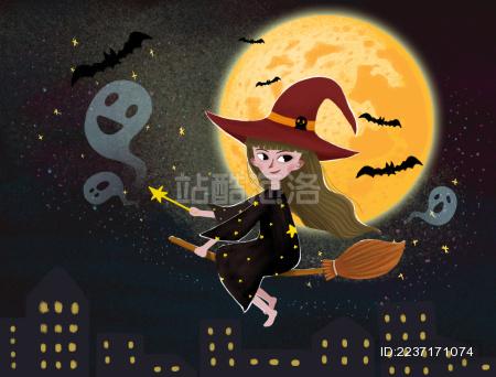 月夜骑扫把飞翔的女巫插画