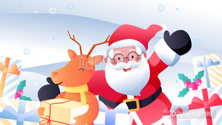 圣诞节平安夜圣诞老人麋鹿卡通背景矢量插画