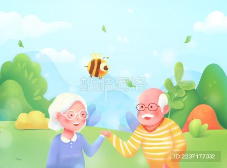爷爷奶奶手牵手在郊外散步