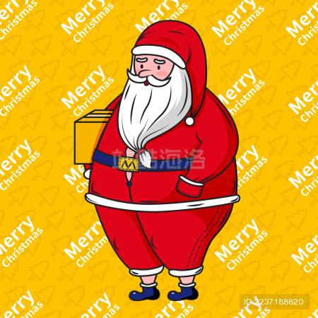 抱着礼物胖胖的可爱圣诞老人