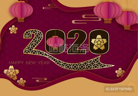 2020鼠年生肖红色金色立体剪纸风中国新年喜庆矢量图背景