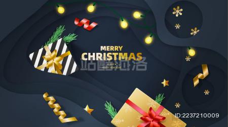 用于庆祝圣诞节平安夜元旦新年的矢量海报素材