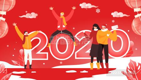 2020年春节龙抬头卡通中国风插画