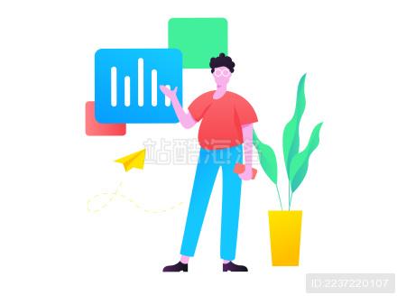 工作的男子展示数据 矢量扁平概念插画