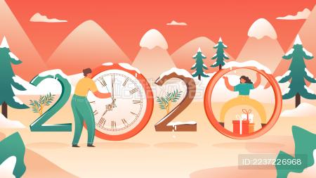 2020年艺术字新年跨年卡通雪景背景矢量插画