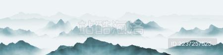 宽屏手绘中国风蓝色意境水墨山水风景画