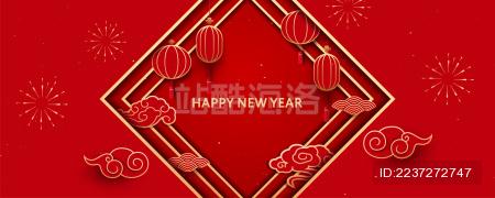 中国传统新年元素背景图 红色灯笼和祥云图案 新春对联