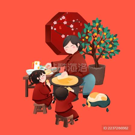 年俗大年初七姥姥给孙子孙女摊煎饼吃手绘插画