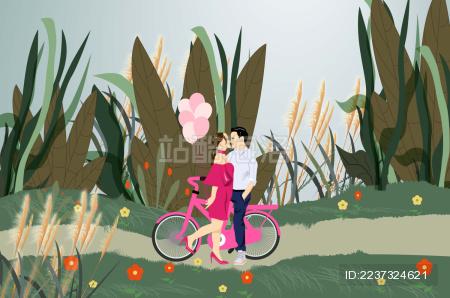 一对情侣在野外约会的矢量插画