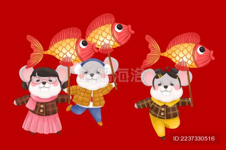 鼠年春节庆祝场景