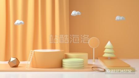 柔色3D风格彩色产品展台创意图