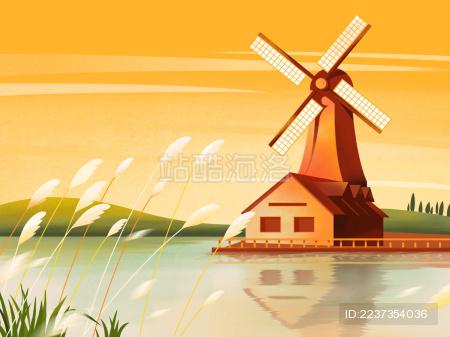湖边的风车木屋