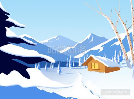 冬季雪景下的小屋木