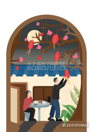 年轻夫妻在家门前的树上挂灯笼