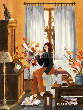 秋天在家惬意喝咖啡的女孩