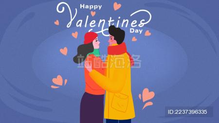 新年情侣插画