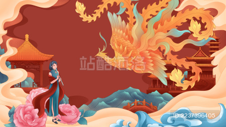 穿旗袍戴披肩的民国美女站在祥云环绕的宫殿楼阁间仰望天空飞舞的凤凰国风古典插画