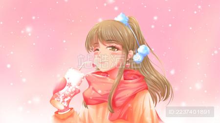 冬天 正在喝热饮的美丽少女 粉色调的唯美卡通少女头像插画