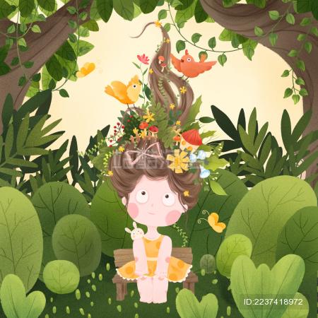春天森林中坐在木椅上的黄裙女孩与给她梳头发的鸟儿蝴蝶幻想插画