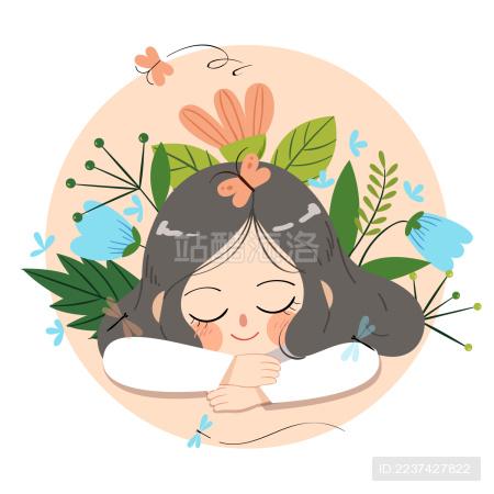美丽花朵与沉睡女孩小清新插画