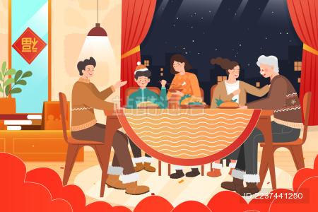 卡通2020鼠年新年家人年夜饭活动背景矢量插画