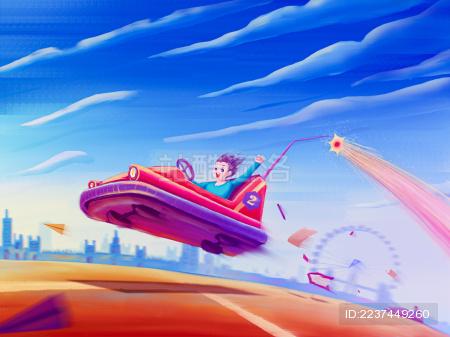 儿童在游乐场开碰碰车