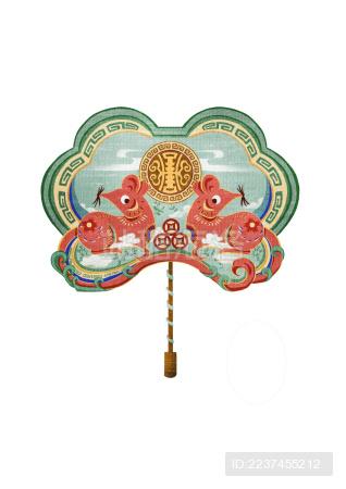 鼠年新年装饰-吉祥如意扇