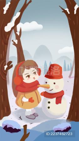 女孩带着围巾帽子和雪人在雪地里