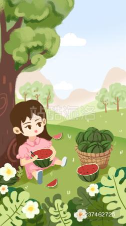 夏天小女孩在树下吃着西瓜乘凉