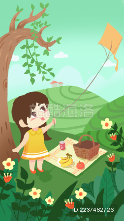 春天小女孩在田野里野餐放风筝