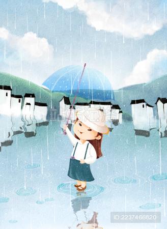 小女孩在雨中举着雨伞跳舞