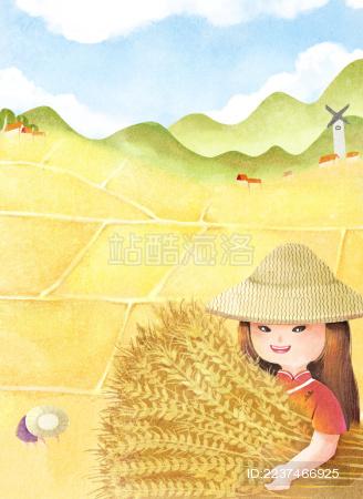 女孩手里抱着金黄色的麦子露出微笑