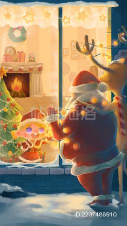 温暖圣诞节夜晚