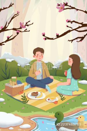 春天踏青野餐的年轻男女