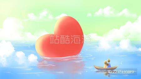 小船上的情侣看着浮在海面上的巨大爱心