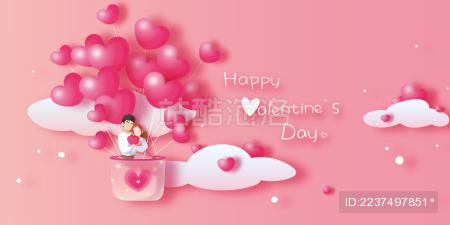 相拥的男孩女孩手捧爱心乘坐心形热气球共度情人节