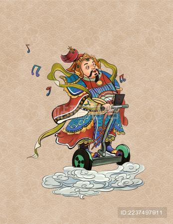 一个胖门神听着音乐骑着平衡车回家过年