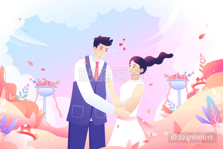 卡通清新白色情人节浪漫情侣背景矢量插画
