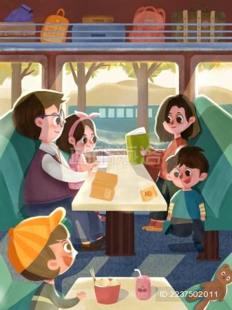一家人坐着火车去旅行