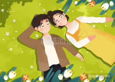 早春时节躺在草坪沐浴阳光的青年男女