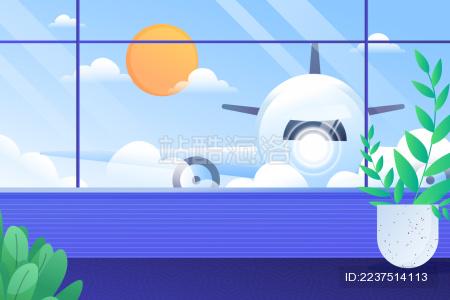 机场飞机停靠候机矢量插图