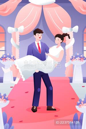 在婚礼上的一对情侣矢量插图