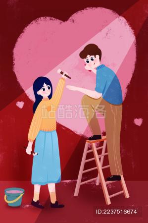 男孩和女孩一起工作刷墙插画