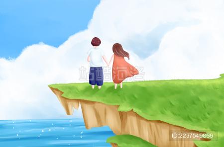 春天情侣手牵手站在悬崖上远眺海面插画