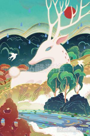 国潮中国风春天森林里的仙鹿插画