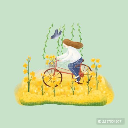 清明女孩骑自行车郊外踏青